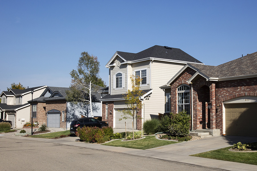 Longmont neighborhood with paved sidewalks, lush landscaping with tall trees, and two story houses.