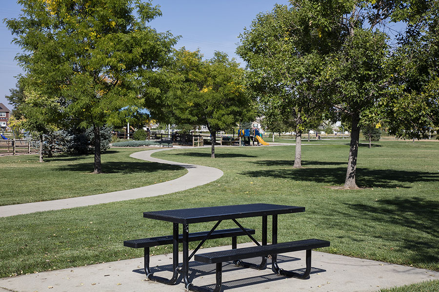 Park with paved sidewalks, grassy areas with tall trees, and picnic table.
